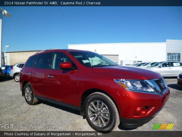 cayenne red 2014 nissan pathfinder sv awd charcoal interior vehicle archive. Black Bedroom Furniture Sets. Home Design Ideas