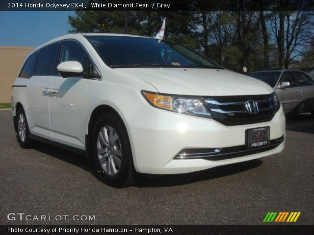 white diamond pearl 2014 honda odyssey ex l gray interior vehicle archive. Black Bedroom Furniture Sets. Home Design Ideas