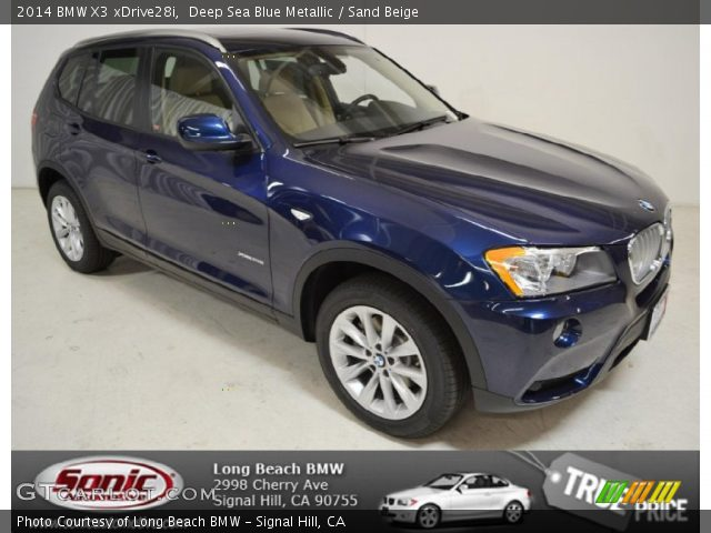 Deep Sea Blue Metallic 2014 Bmw X3 Xdrive28i Sand Beige Interior Vehicle