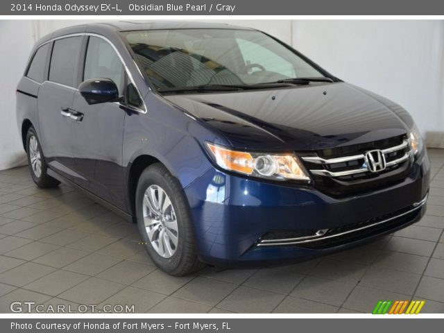 obsidian blue pearl 2014 honda odyssey ex l gray interior vehicle archive. Black Bedroom Furniture Sets. Home Design Ideas