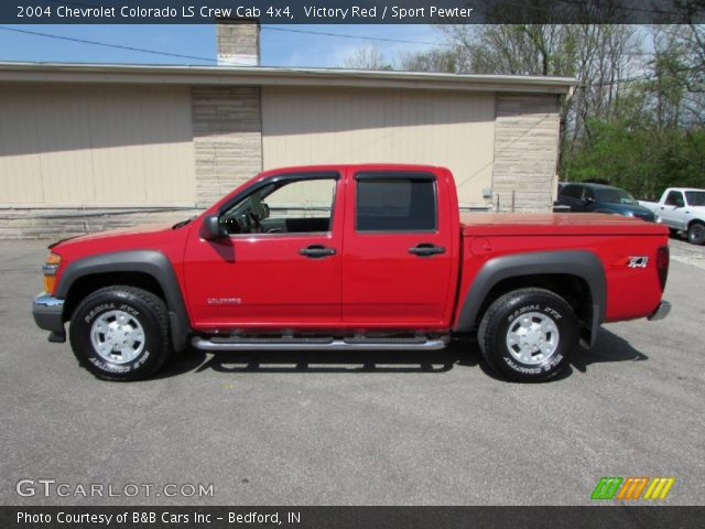 victory red 2004 chevrolet colorado ls crew cab 4x4 sport pewter interior. Black Bedroom Furniture Sets. Home Design Ideas