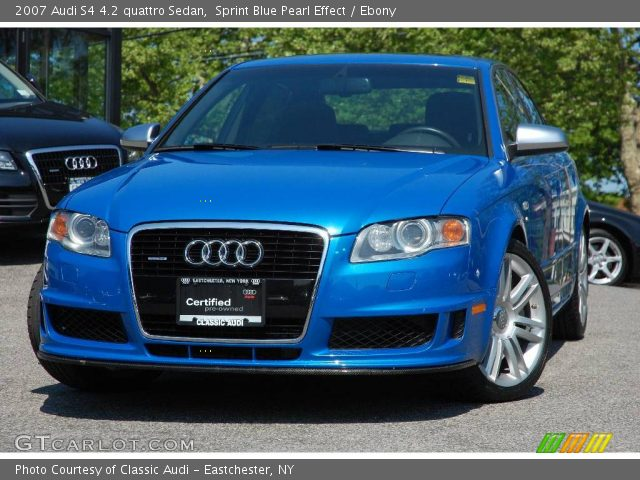 sprint blue pearl effect 2007 audi s4 4 2 quattro sedan ebony interior. Black Bedroom Furniture Sets. Home Design Ideas