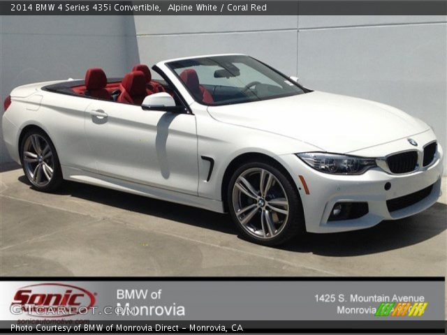 Alpine White 2014 Bmw 4 Series 435i Convertible Coral Red Interior Vehicle