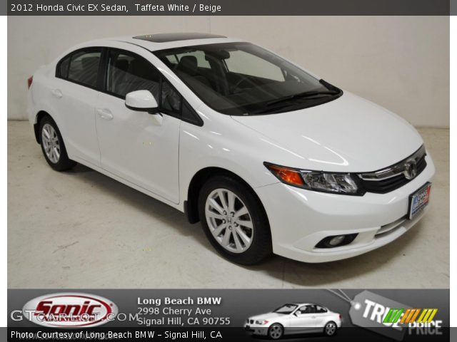 Taffeta white 2012 honda civic ex sedan beige interior for 2012 honda civic white