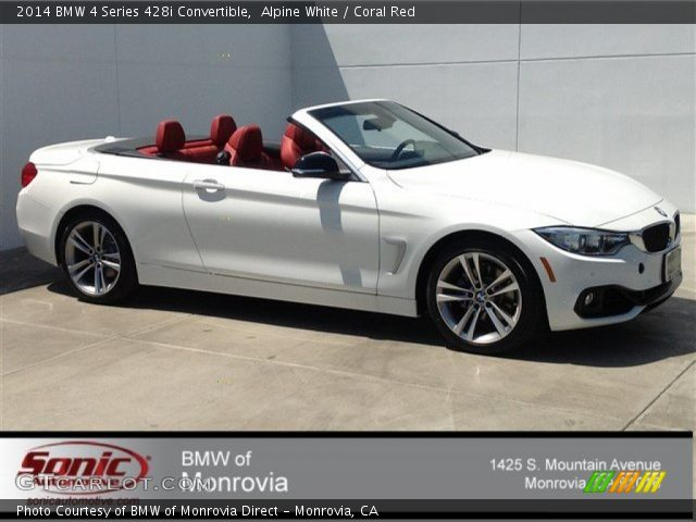 Alpine White 2014 Bmw 4 Series 428i Convertible Coral Red Interior Vehicle