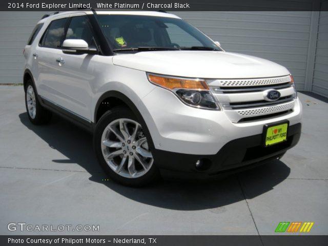 White Platinum 2014 Ford Explorer Limited Charcoal Black Interior Vehicle