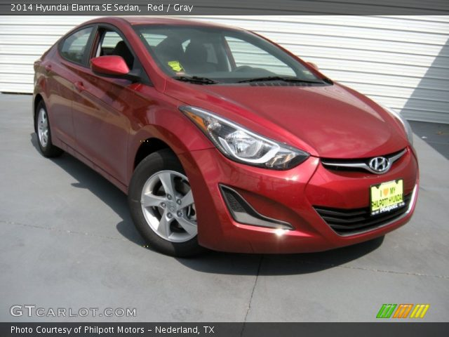 red 2014 hyundai elantra se sedan gray interior vehicle archive 94592247. Black Bedroom Furniture Sets. Home Design Ideas