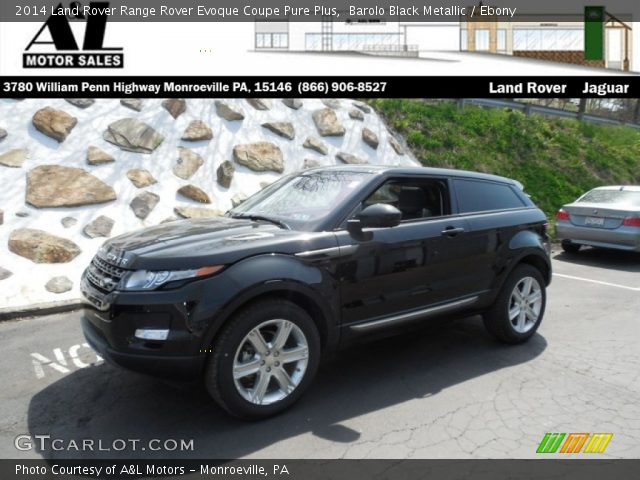 barolo black metallic 2014 land rover range rover evoque coupe pure plus ebony interior. Black Bedroom Furniture Sets. Home Design Ideas