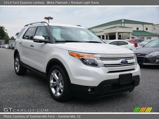 White Platinum 2014 Ford Explorer Limited Medium Light Stone Interior