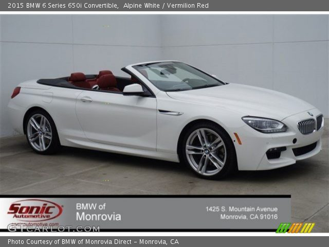 Alpine White 2015 Bmw 6 Series 650i Convertible Vermilion Red Interior