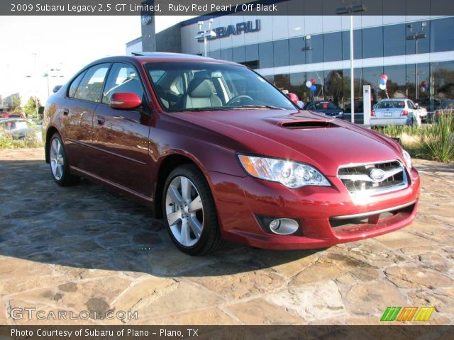 ruby red pearl 2009 subaru legacy 2 5 gt limited off black interior vehicle. Black Bedroom Furniture Sets. Home Design Ideas