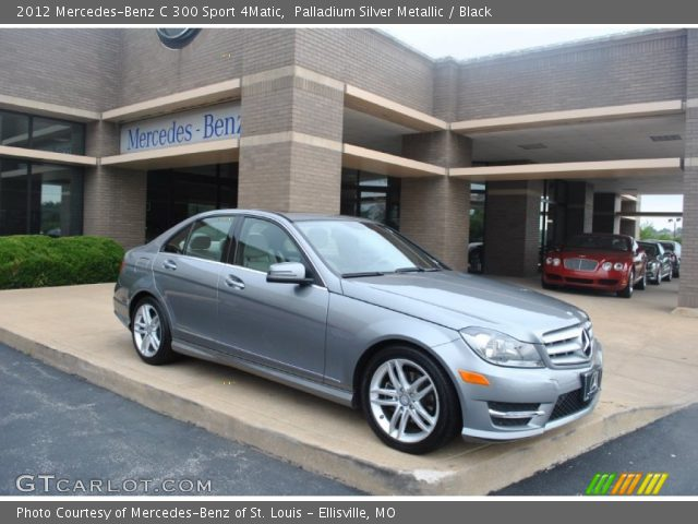 palladium silver metallic 2012 mercedes benz c 300 sport 4matic black interior gtcarlot. Black Bedroom Furniture Sets. Home Design Ideas