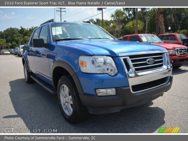 blue flame metallic 2010 ford explorer sport trac xlt camel sand interior. Black Bedroom Furniture Sets. Home Design Ideas