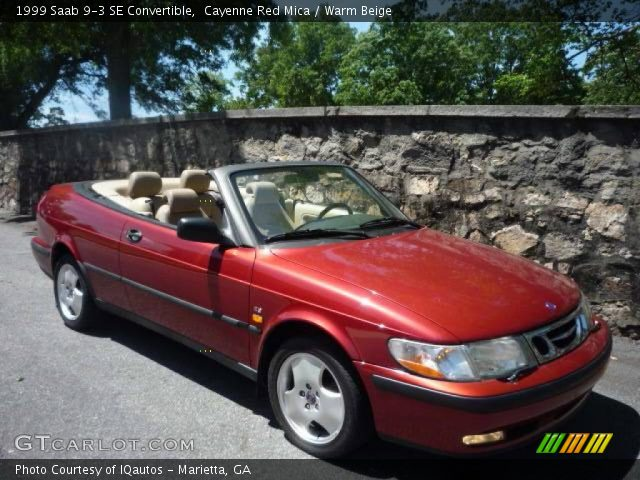 cayenne red mica 1999 saab 9 3 se convertible warm beige interior vehicle. Black Bedroom Furniture Sets. Home Design Ideas