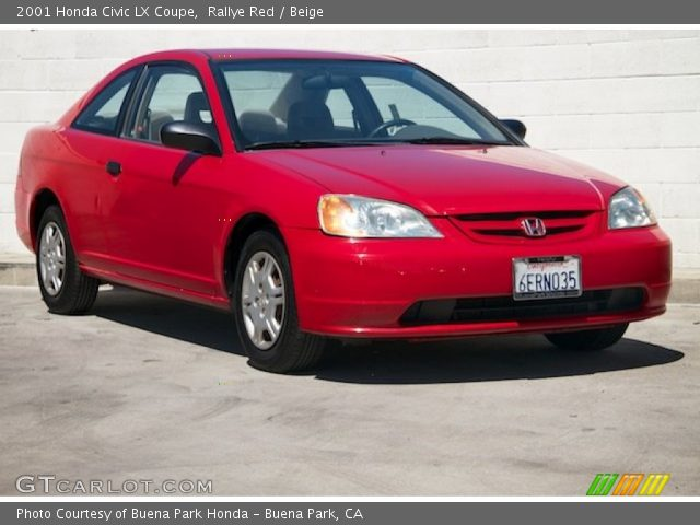 rallye red 2001 honda civic lx coupe beige interior vehicle archive 97046561. Black Bedroom Furniture Sets. Home Design Ideas