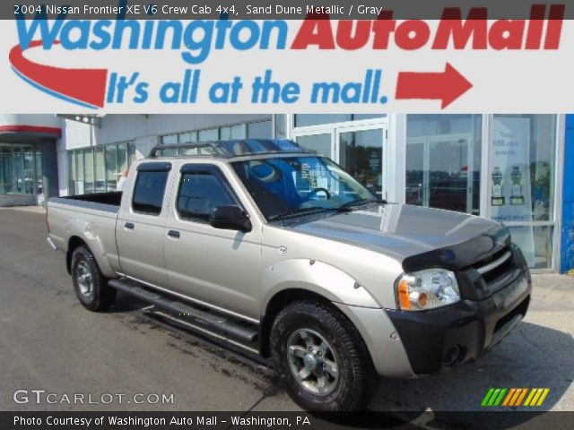 sand dune metallic 2004 nissan frontier xe v6 crew cab 4x4 gray interior. Black Bedroom Furniture Sets. Home Design Ideas