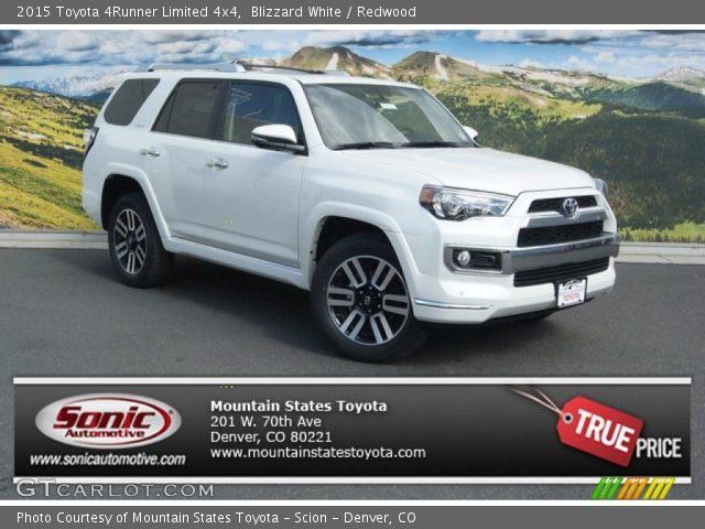 Blizzard White 2015 Toyota 4runner Limited 4x4 Redwood Interior Vehicle