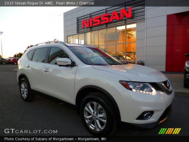 pearl white 2015 nissan rogue sv awd charcoal interior vehicle archive. Black Bedroom Furniture Sets. Home Design Ideas