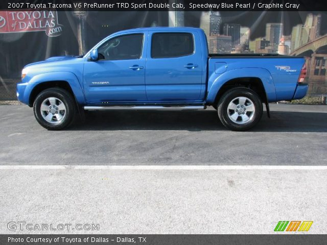 speedway blue pearl 2007 toyota tacoma v6 prerunner trd sport double cab graphite gray. Black Bedroom Furniture Sets. Home Design Ideas