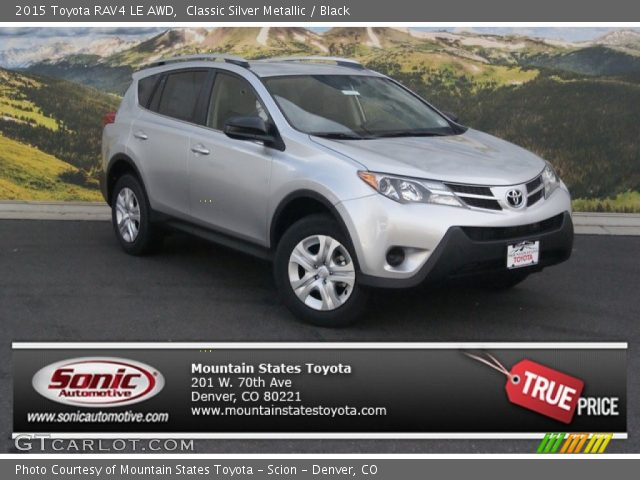 classic silver metallic 2015 toyota rav4 le awd black interior vehicle. Black Bedroom Furniture Sets. Home Design Ideas