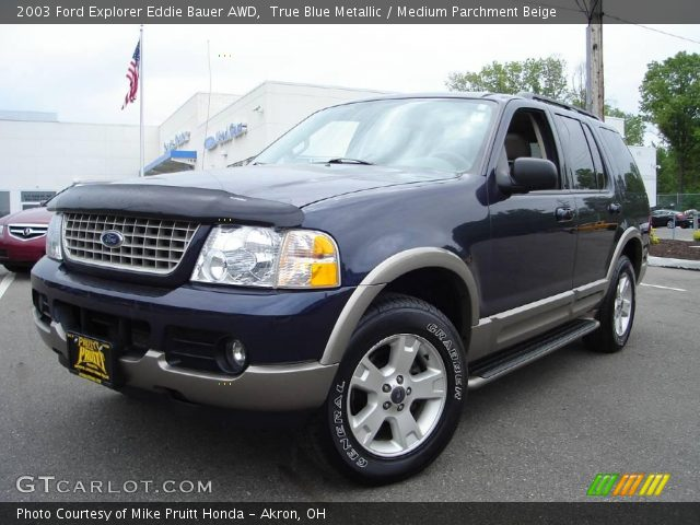 true blue metallic 2003 ford explorer eddie bauer awd medium parchment beige interior. Black Bedroom Furniture Sets. Home Design Ideas