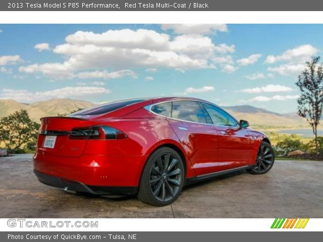 2013 Tesla Model S P85 Performance in Red Tesla Multi-Coat