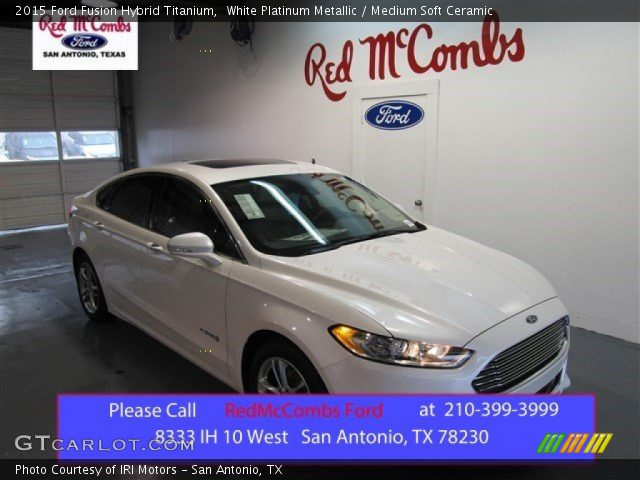 white platinum metallic 2015 ford fusion hybrid titanium medium soft ceramic interior. Black Bedroom Furniture Sets. Home Design Ideas