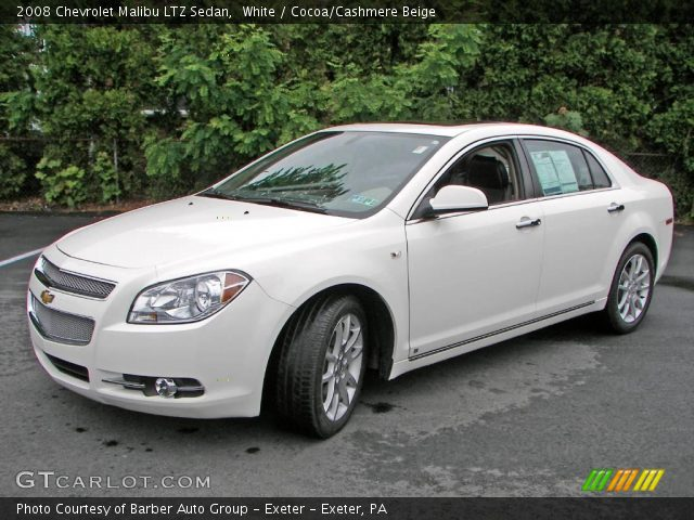 white 2008 chevrolet malibu ltz sedan cocoa cashmere beige interior vehicle. Black Bedroom Furniture Sets. Home Design Ideas