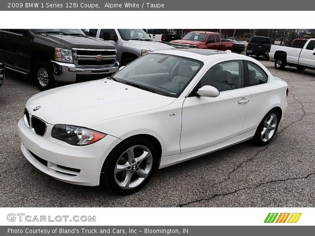 alpine white 2009 bmw 1 series 128i coupe taupe. Black Bedroom Furniture Sets. Home Design Ideas