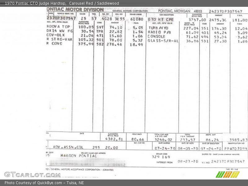 Info Tag of 1970 GTO Judge Hardtop