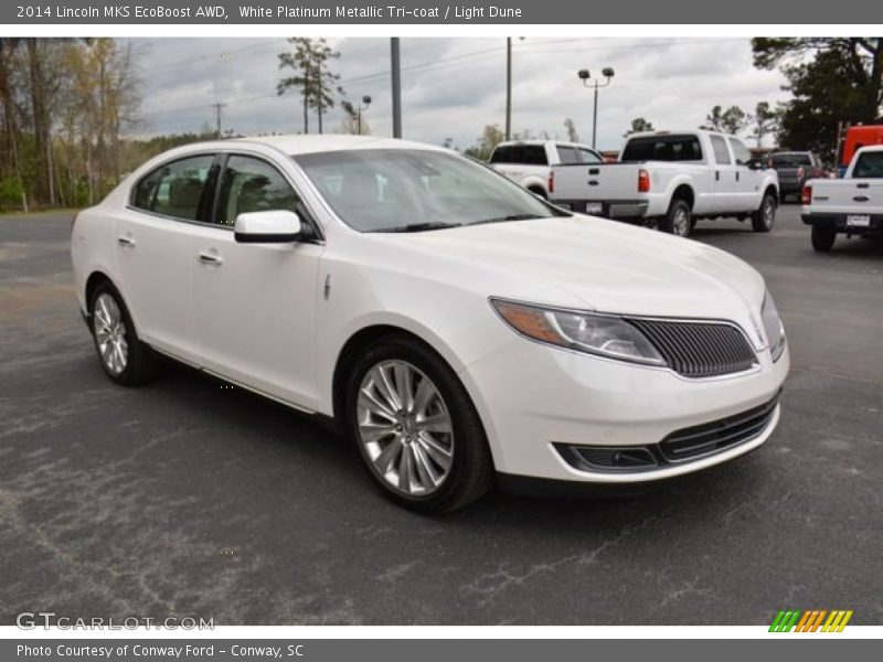 White Platinum Metallic Tri-coat / Light Dune 2014 Lincoln MKS EcoBoost AWD