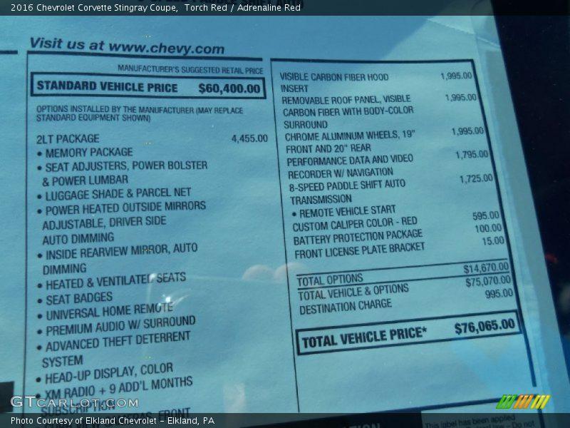 Fargo Nd Used Cars 2016 Corvette Stingray Coupe Window Sticker Photo No. 107087097 ...