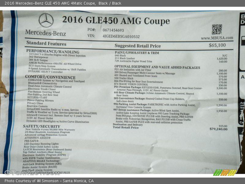2016 GLE 450 AMG 4Matic Coupe Window Sticker