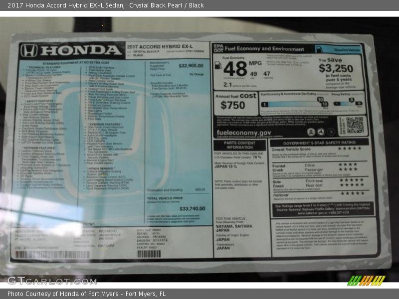 2017 Accord Hybrid EX-L Sedan Window Sticker