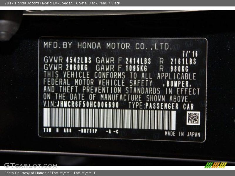 2017 Accord Hybrid EX-L Sedan Crystal Black Pearl Color Code NH731P