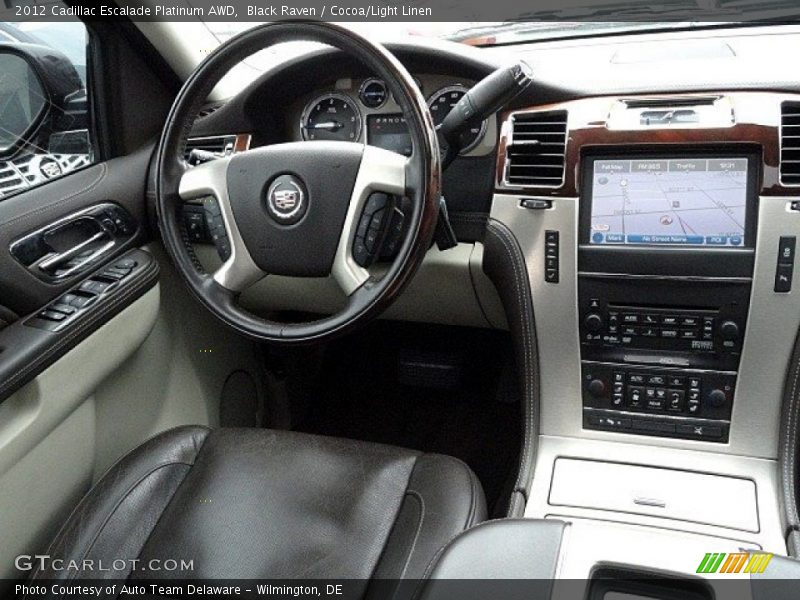 Black Raven / Cocoa/Light Linen 2012 Cadillac Escalade Platinum AWD