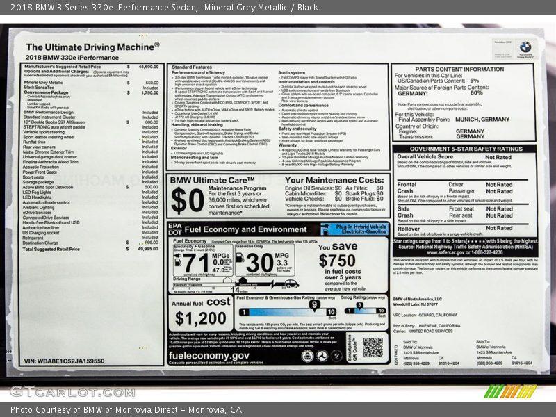 2018 3 Series 330e iPerformance Sedan Window Sticker