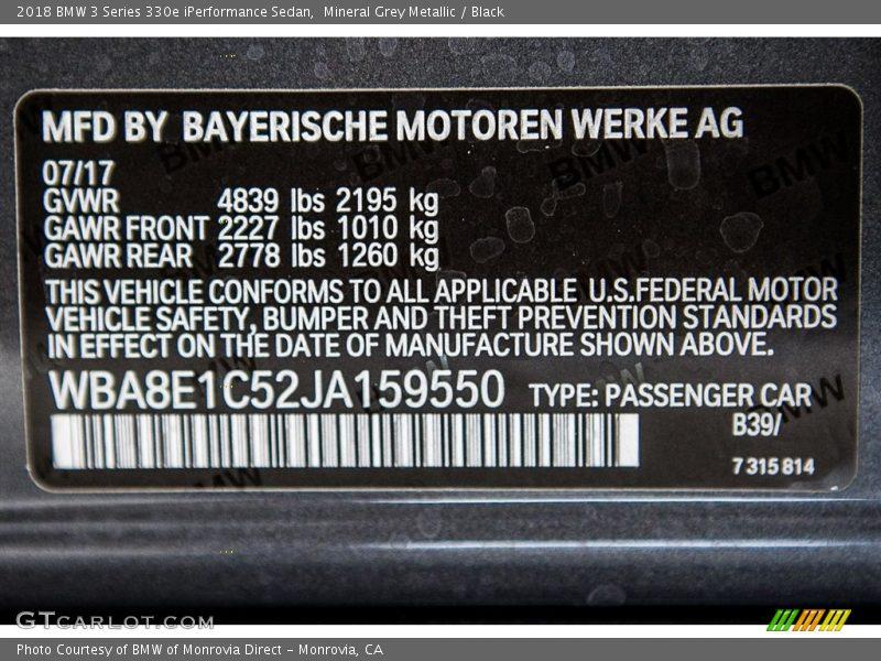 2018 3 Series 330e iPerformance Sedan Mineral Grey Metallic Color Code B39