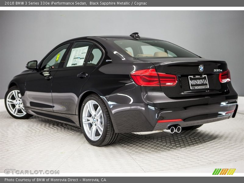 Black Sapphire Metallic / Cognac 2018 BMW 3 Series 330e iPerformance Sedan