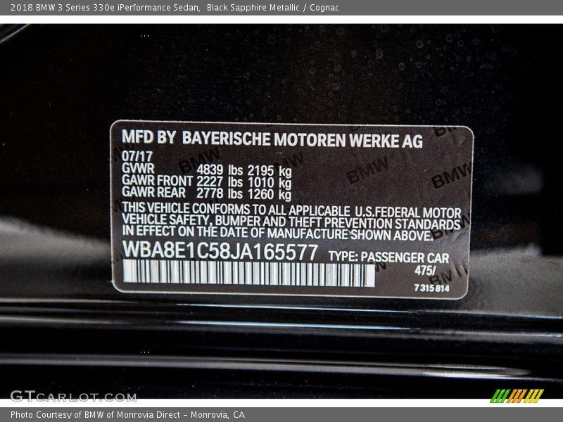 2018 3 Series 330e iPerformance Sedan Black Sapphire Metallic Color Code 475