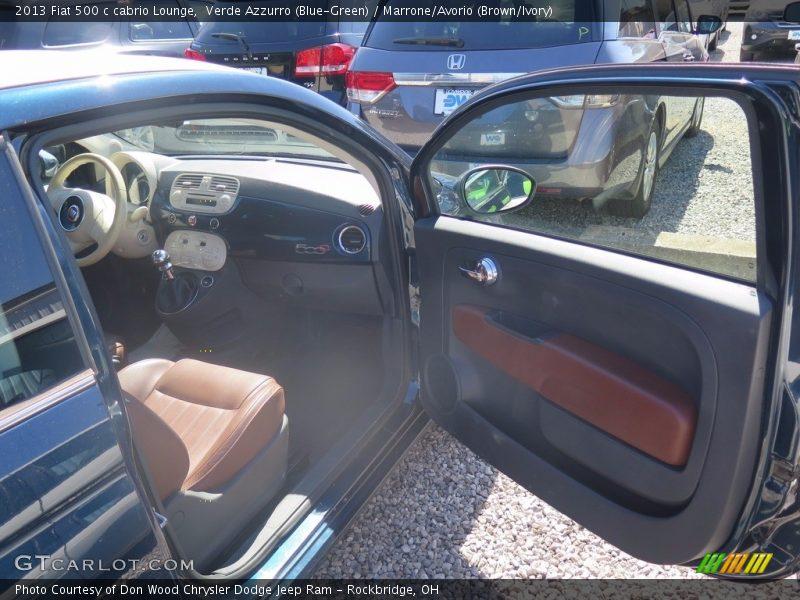 Verde Azzurro (Blue-Green) / Marrone/Avorio (Brown/Ivory) 2013 Fiat 500 c cabrio Lounge