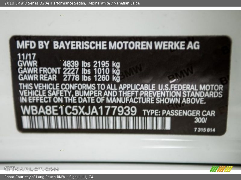 Alpine White / Venetian Beige 2018 BMW 3 Series 330e iPerformance Sedan