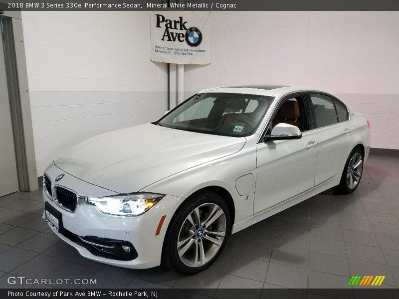 Mineral White Metallic / Cognac 2018 BMW 3 Series 330e iPerformance Sedan