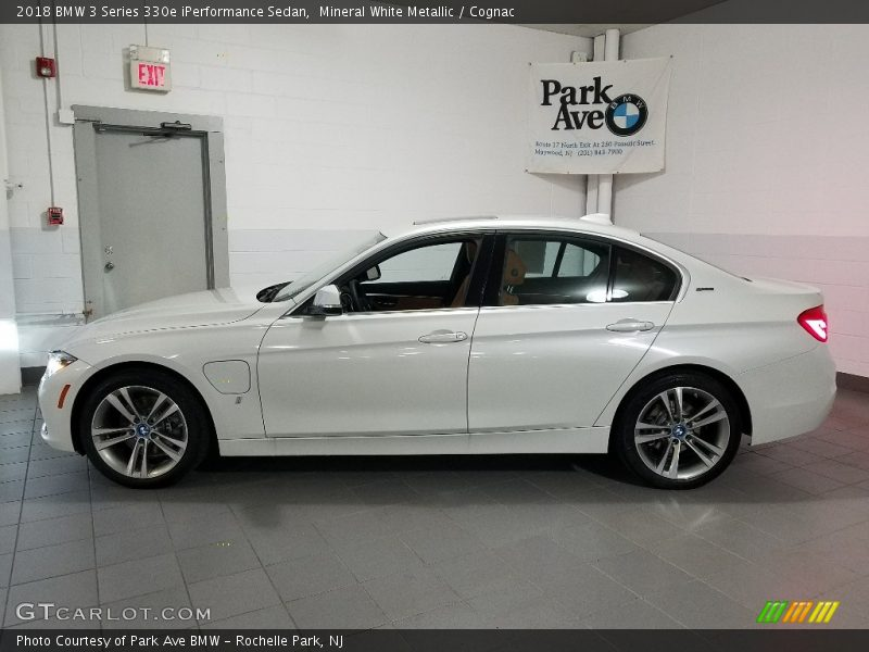 Mineral White Metallic / Cognac 2018 BMW 3 Series 330e iPerformance Sedan