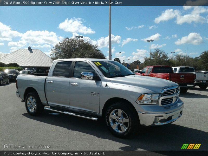 Bright Silver Metallic / Black/Diesel Gray 2018 Ram 1500 Big Horn Crew Cab