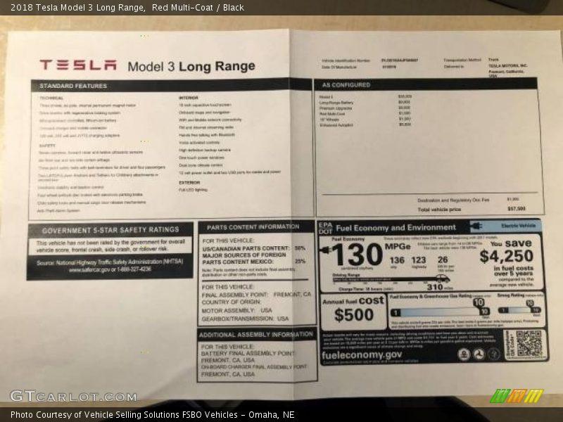 2018 Model 3 Long Range Window Sticker