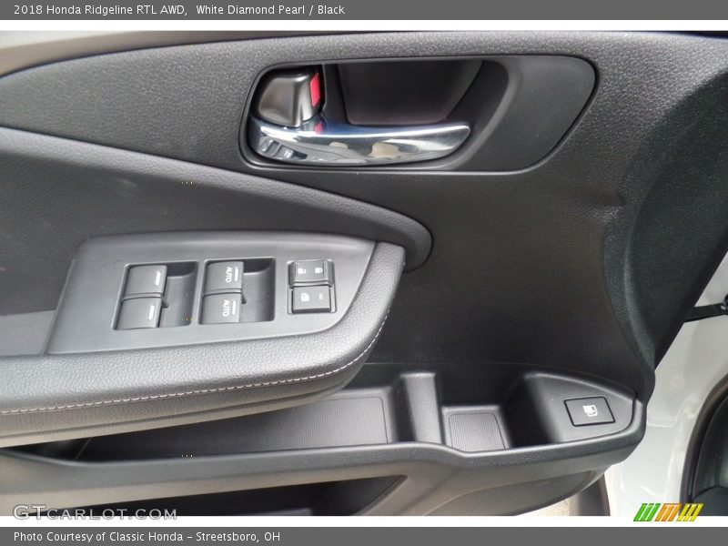 White Diamond Pearl / Black 2018 Honda Ridgeline RTL AWD