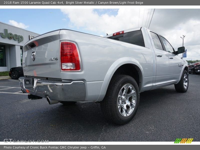 Bright Silver Metallic / Canyon Brown/Light Frost Beige 2018 Ram 1500 Laramie Quad Cab 4x4