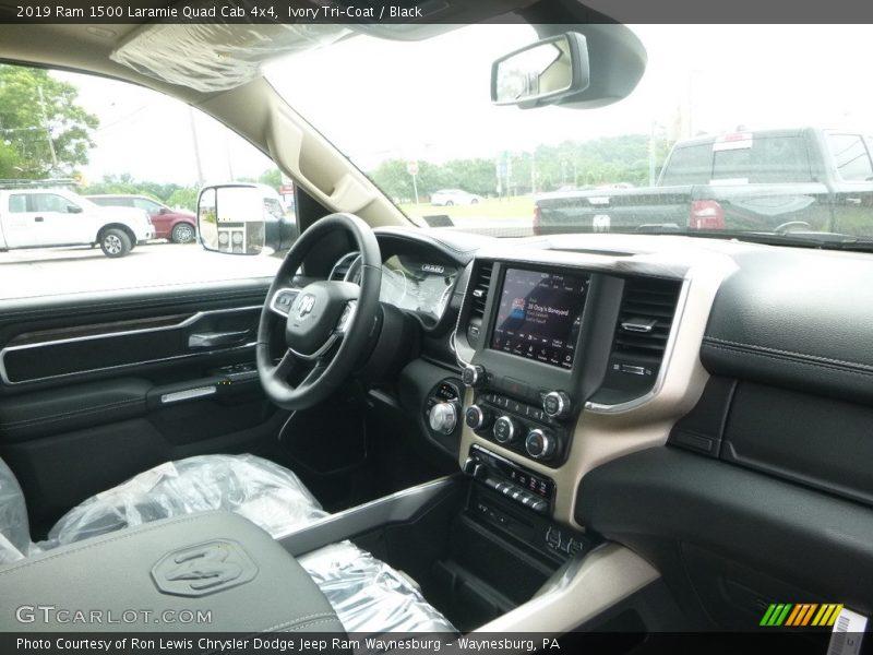 Ivory Tri–Coat / Black 2019 Ram 1500 Laramie Quad Cab 4x4