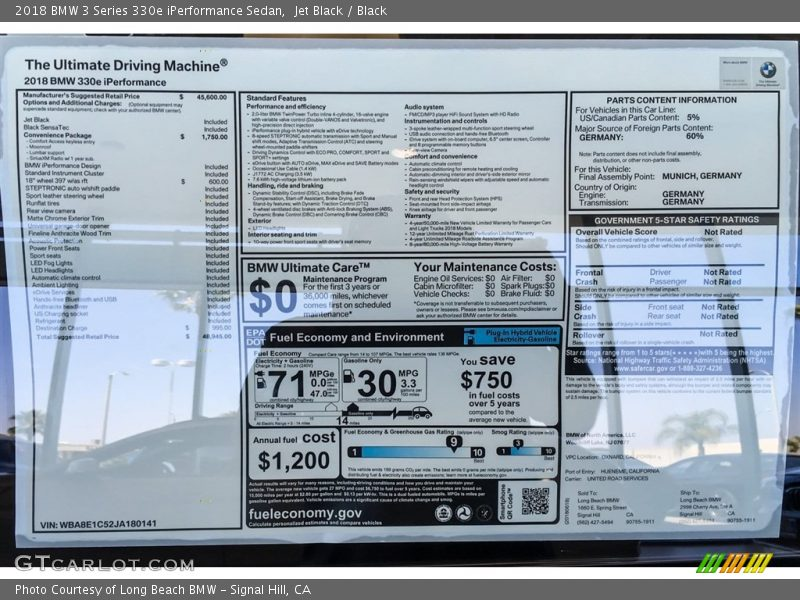 2018 3 Series 330e iPerformance Sedan Window Sticker